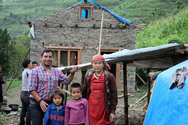 The roof is almost set, then we will work on the walls. This woman and her kids will have no problem this monsoon