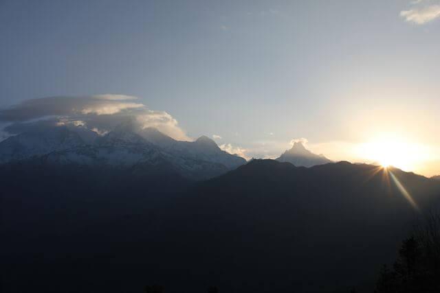 Magnifika vyer från Poon Hill, Nepal