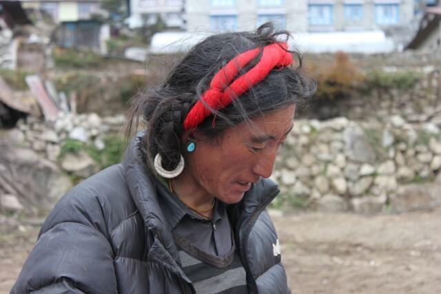 Tibetansk forsaljare i Namche