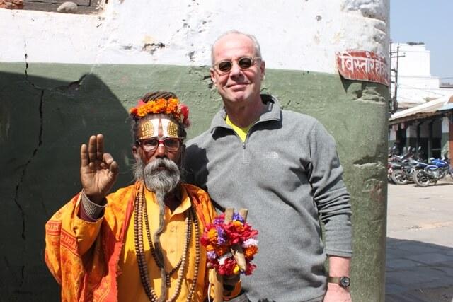 Hanse och en av alla heliga man vid Durbar Square