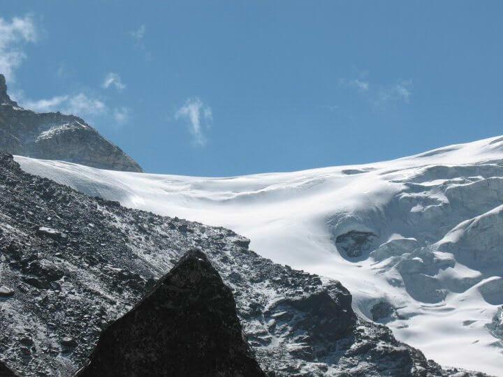 Mera La - passet/glaciären vi ska vandra över för att ta oss till toppen