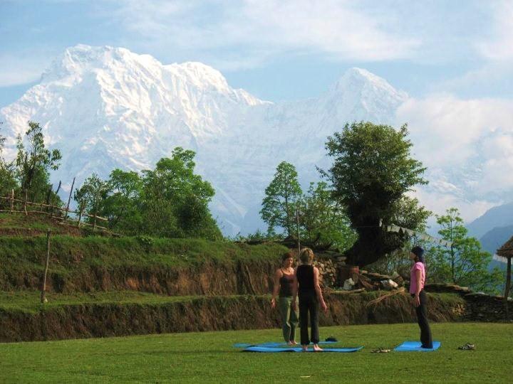 Yoga under mountains, Nepal