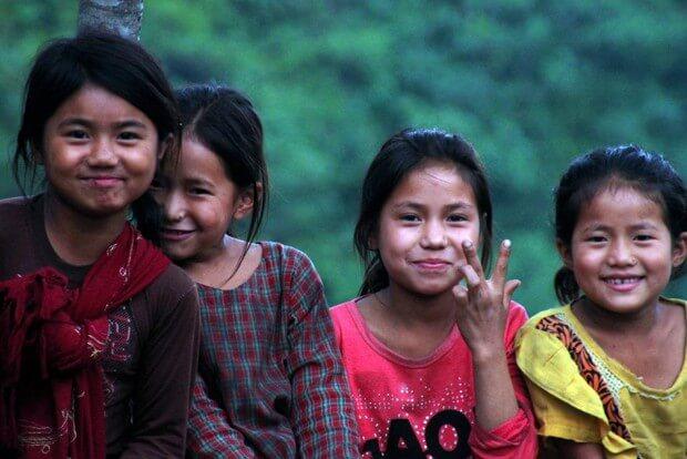 four smiling girls